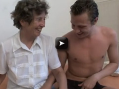 Granny with hairy pussy love fucking with one boy