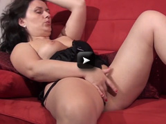 Mature NL Mature European woman masturbating on the couch