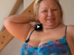 Old fat chubby lady is playing with her pussy